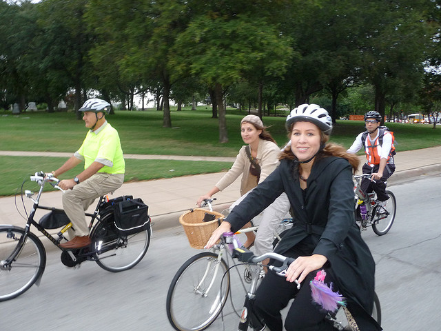 Angela riding a year or so back at the Bike to City Hall event
